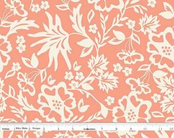Cream and Peach Floral Fabric, Peach Floral Quilt Fabric, Riley Blake Apricot & Persimmon C4901 Floral Peach, Carina Gardner, Cotton