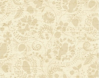 Cream Floral Fabric, Windham Wild Woods 41126 1, Tone on Tone Cream Woodland Floral Quilt Blender Fabric, Ferns, Birds, Butterflies, Cotton