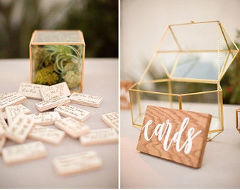 hand lettered calligraphy wood sign: cards | cards & gifts