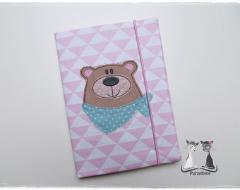 Notepad cover A5 - notebook - bear with scarf - bear - including Notebook - Pink