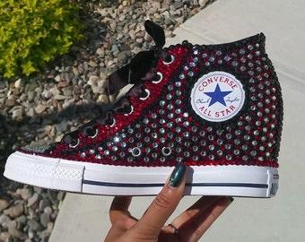 Rhinestone Crystal Embellished Converse Wedge Sneakers