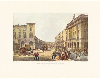 Victorian London The Quadrant Regent Street 1852 Great Britain England city architecture vintage print coloured engraving 7 x 9.25 inches
