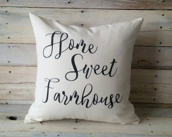 Home Sweet Farmhouse Pillow Cover, Farmhouse Pillow, Accent Pillow, Rustic Pillow, Decorative Pillow, Throw Pillow, Wedding Gift