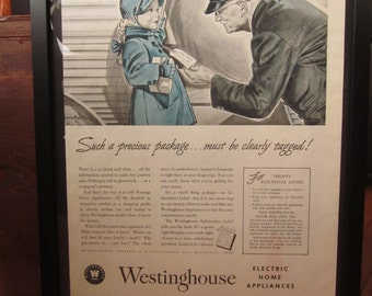 Westinghouse Advertising - 1942 - Framed for Display - Beautiful Ad Graphics
