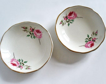 James Kent Old Foley Staffordshire trinket dishes, pin dishes with pink roses