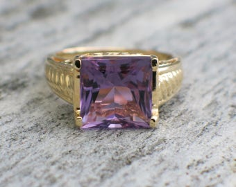 RESERVED * Second Payment 14K Yellow Gold Amethyst Ring