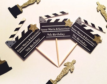 Personalized Movie Clapperboard Cupcake Toppers | Hollywood Party Decor | Movie Night | Movie Theme | Hollywood Theme)