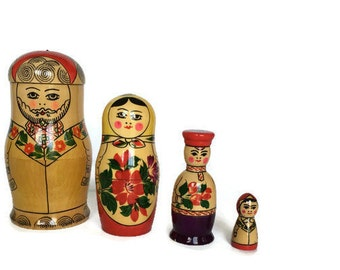 Russian Matryoshka nesting doll family hand painted wood Made in USSR