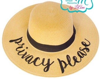 Privacy Please floppy Beach Hat, Personalized Straw Hat, Sun hat, Embroidred floppy hat, Beach Hat, Straw floppy Beach Hat, Straw Cruise hat