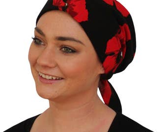 Gabrielle Pre-Tied Head Scarf -Women's Cancer Headwear, Chemo Scarf, Alopecia Hat, Head Wrap,  Head Cover for Hair Loss - Red Poppies