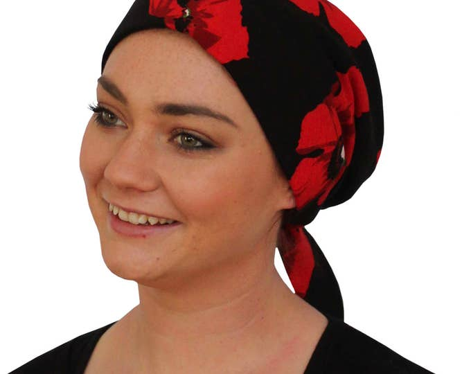 Featured listing image: Gabrielle Pre-Tied Head Scarf -Women's Cancer Headwear, Chemo Scarf, Alopecia Hat, Head Wrap,  Head Cover for Hair Loss - Red Poppies