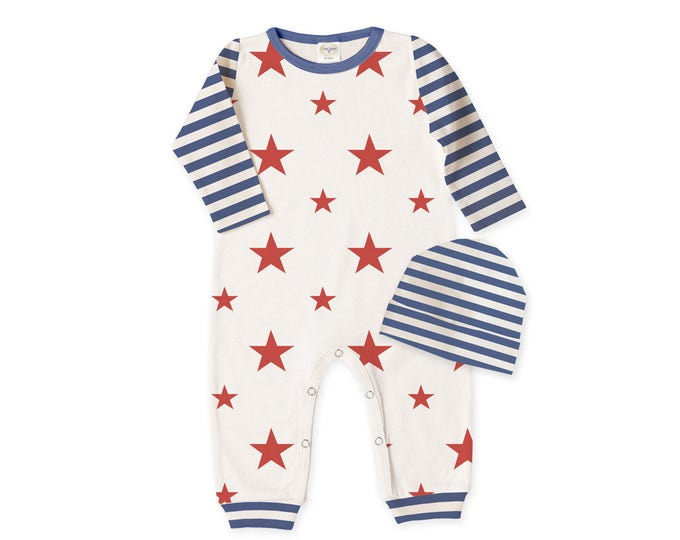 Baby 4th of July Outfit, Newborn Coming Home Outfit, Unisex Baby Romper, Baby Stars Stripes Bodysuit, Red Blue Romper Tesababe RP810SSBI0000