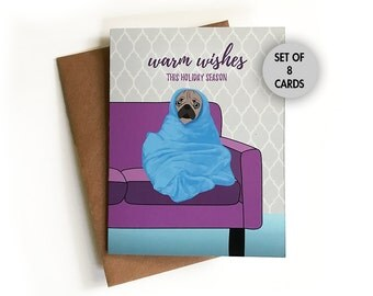 Pug Christmas Card SET of 8 Cards, Holiday Greeting Card, Warm Wishes, Dog, Funny