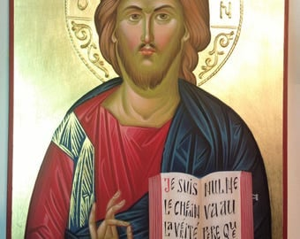 "orthodox Icon of the Lord Jesus Christ, hand painted, Christ ""the Light-Giver, christian icon, orthodox gift, iconography, religious gift"