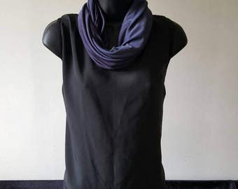 Silk Jersey Snood, Cowl, Neck Scarf, Navy and Purple, pure silk (085)