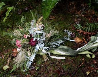dried flower bouquet, pink bouquet, woodland bouquet, foraged bouquet, pink bridal bouquet, eucalyptus bouquet, woodland wedding, eucalyptus