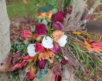 dried flower bouquet, red and orange bouquet, orange bridal bouquet, crimson bouquet, wheat bouquet, autumn bouquet, rustic bouquet, autumn