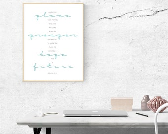 Art Print -- Jeremiah 29:11 // Inspirational Wall Art // Bible Verse Art // I Know the Plans I Have for You // Scripture Wall Art