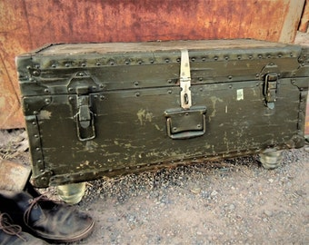 Toy Chest, Trunk, Coffee Table, Vintage Military Trunk, Foot Locker, kid's room, storage, boy's room, Korean war, chest, toy storage, bench