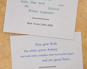 Postcards with Mark Twain quotes – letterpress, lead-type on grey cardboard
