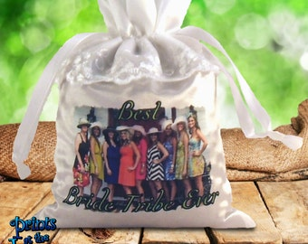 Custom Photo Bachelorette Lace/Satin Keepsake Gift Bags/Bridesmaids Survival Kit/Personalized Photo Satin/Lace Bride Tribe Keepsake Bag