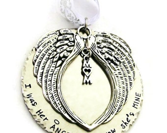 I was her angel Now she's mine Ornament | Hand Stamped Ornament | Christmas Ornament | Angel Mom | Memorial Keepsake | Remembrance | Loss
