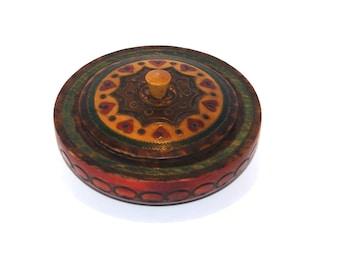 Vintage Round Wooden Jewelry Box Ornament wood box Pyrography Trinket Box Hand Tooled Handmade Box hand carved box inlaid Polish box hearts
