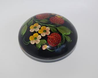 Russian Jewelry Box Round Wooden Black Ornament Wood Box Flowers Strawberries Hand painted Treasury Box Folk Trinket Box Rosemaling Russia