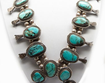 Museum quality vintage Navajo Squash Blossom Necklace Sterling Silver, 17 turquoise stones, circa 1920s