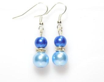 Beaded earrings, blue pearl earrings, blue earrings, pearl earrings, dangle earrings, earrings, bridesmaid earrings, drop earrings