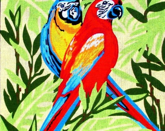 40%OFF/NEEDLEPOINT CANVAS//by Margot De Paris.A Vintage Coushion of One Red & One Blue Macaw,Green Leaf Background.//Was (95.00) Now!