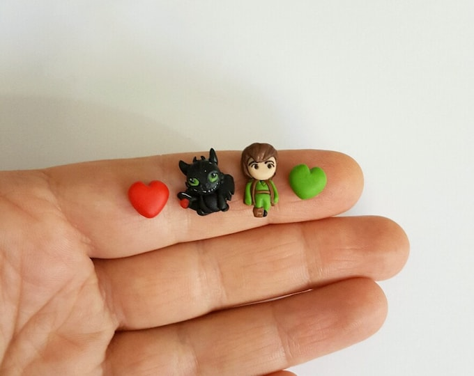 Toothless and Hiccup stud earrings about Dragon trainer. Clay earring. Kawaii.
