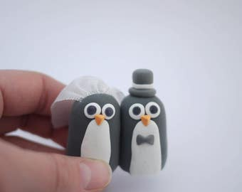 Penguin Bride and Groom Wedding Cake Topper (With or Without Rainbow)