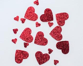 Red Glitter Heart Confetti - Glitter Heart Confetti - Red Heart Confetti - Valentine Confetti - Red Glitter Confetti - Glitter Confetti