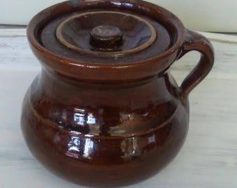 Bean Pot, Brown Bean Pot, Salt Glaze Pottery, Brown Crock, Vintage Pottery, Vintage Crock, Primitive Decor, Small Crock, Stoneware Crock