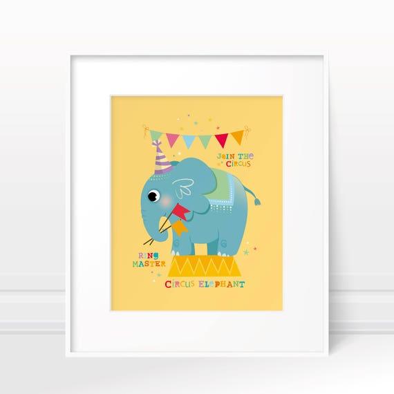 Nursery art circus nursery art nursery print elephant