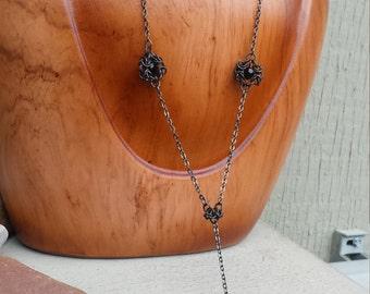 Long Jet Black Swarovski Austrian Crystal Antiqued Necklace Gunmetal Micro Chainmaille Jewelry Medieval Renaissance Maillewerks Hanan Hall