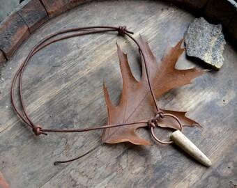 Antler necklace, adjustable antler tip necklace, antler tip pendant, primitive, antler tip leather necklace, copper and antler, antler tip