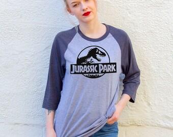 Vintage Style Jurassic Park Grey Baseball T-Shirt