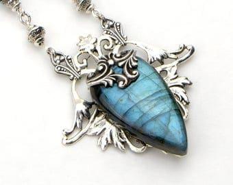 Blue Labradorite Pendant - Labradorite Necklace Jewelry - Unique Necklace For Wife - Blue Necklace For Women - Gift For Girlfriend Wife Mom