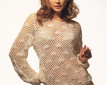 Womens crochet sweater pattern vintage crochet lacy mesh jumper top pdf INSTANT download pattern only cover up 30 - 42 inches