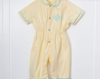 12 months: Yellow Fish Coveralls, Baby Romper, Yellow with Appliqué Design, Front Snaps