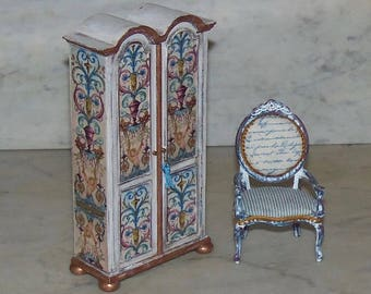 Armoire For 1:12th Dollhouse.  Bespaq.   Decoupaged and Painted.