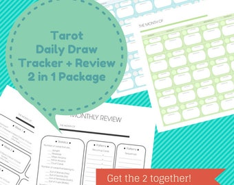 Tarot Daily Draw Tracker + Review 2 in 1 Printable Package / Letter Sized /