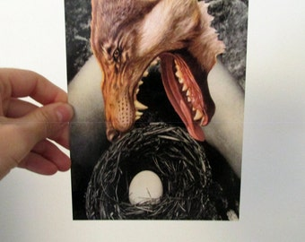 Feminist Postcard Art Mother Wolf Collage 5x7 inches Glossy