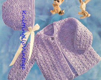 Baby Crochet Pattern Matinee Coat and Bonnet Double Knit pdf