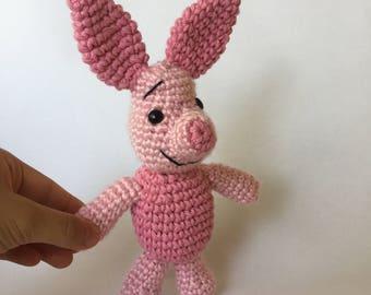 crochet piglet, crochet pig, pink pig, winnie the pooh, stuffed animal, stuffed pig, crochet pig animal, pig, pink pig