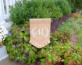 Garden Flag- Burlap Garden Flag-Outdoors Decor- Burlap Flag- Monogramed Garden Flag- Personalized Flag- House Warming Gift- Wedding Gift
