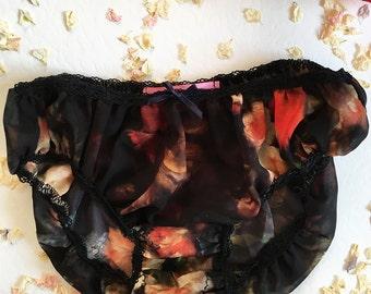 Wanda Oil Painting See Though Sheer Lingerie Panties