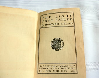 The Light that Failed Rudyard Kipling with personal note and newspaper clipping, First Edition